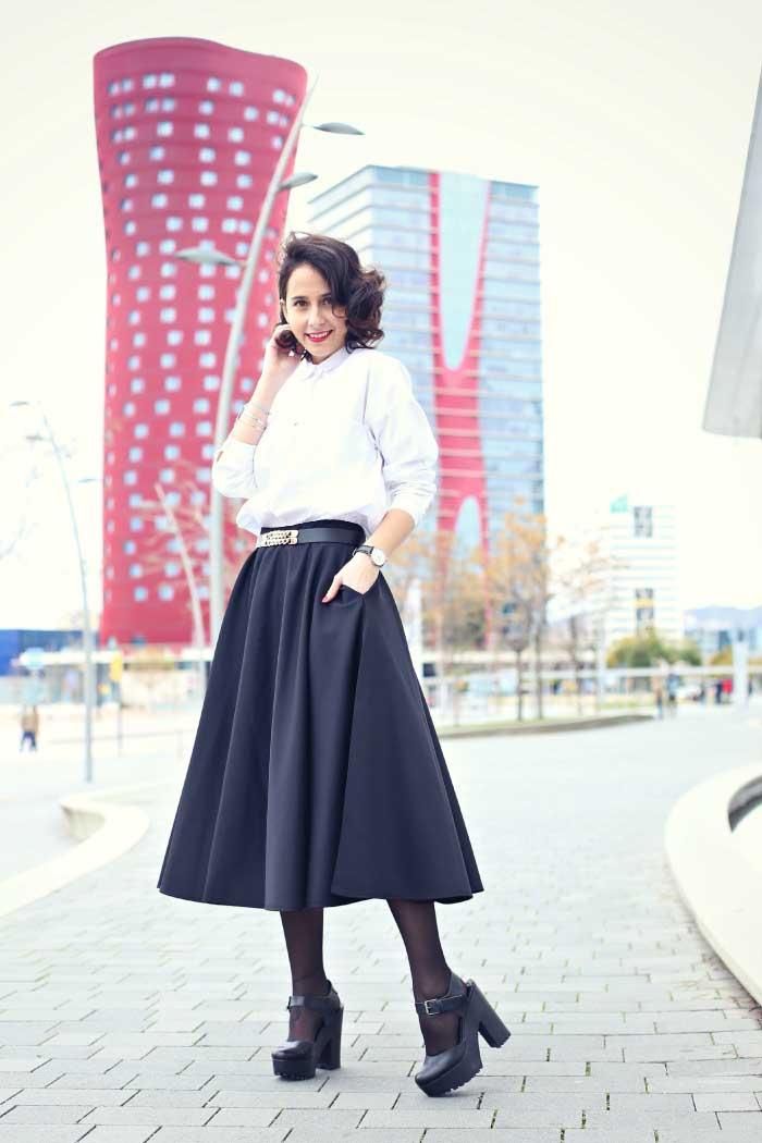 MARZO-neoprene-midi-skirt