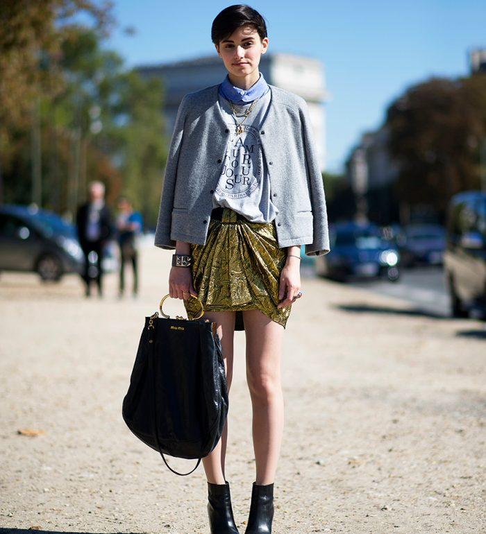 street style metallic skirt