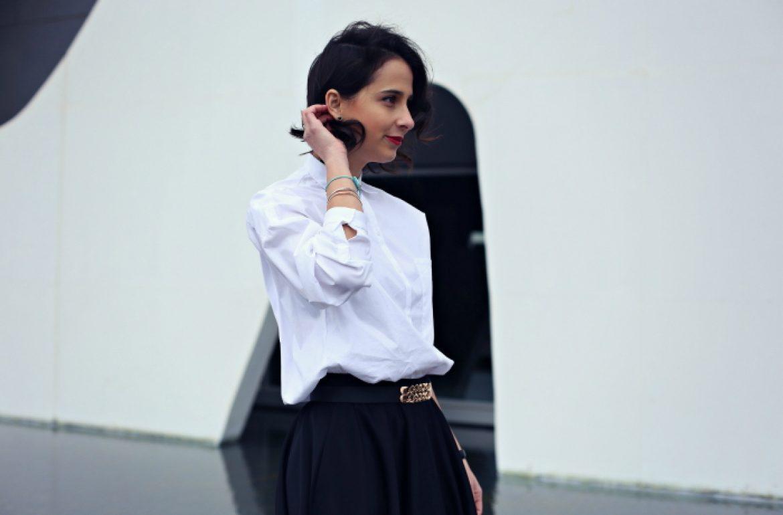 white-blouse-black-skirt