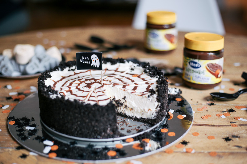 Tarta de queso y chocolate para Halloween