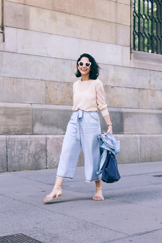 pantalón culotte con lazo a la cintura