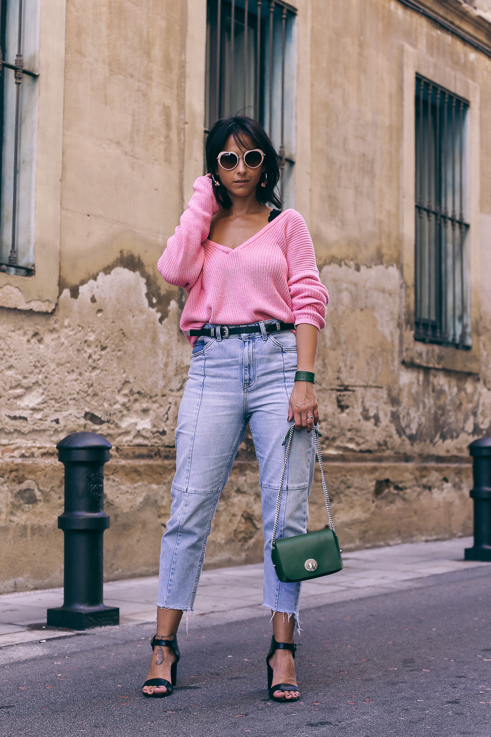 street style NA-KD pink sweater