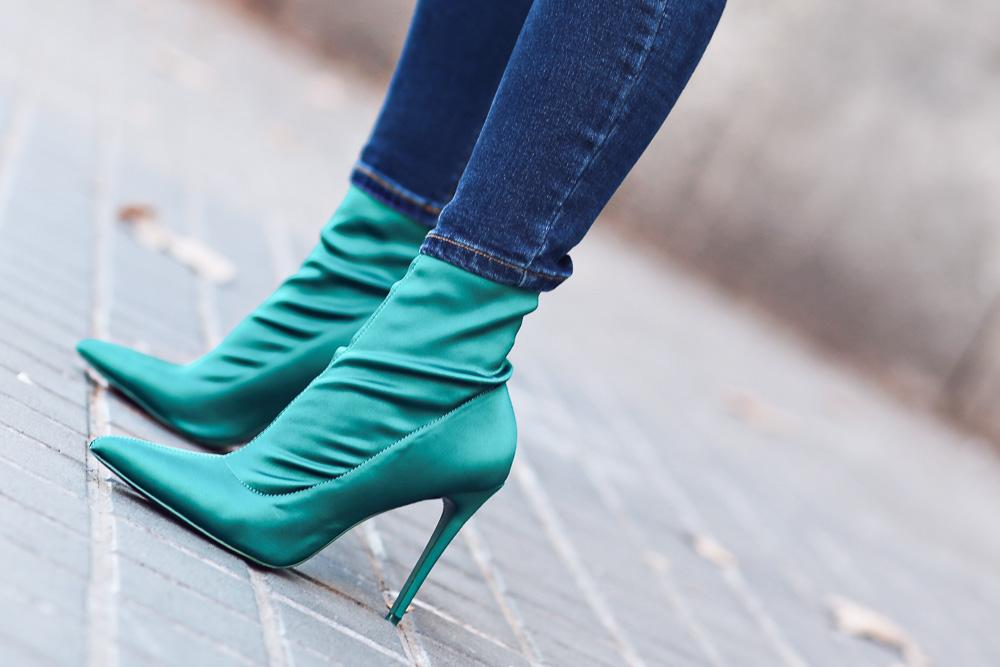 tendencia botín-calcetín verde