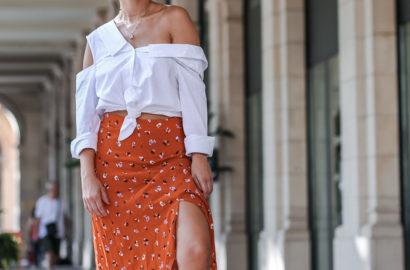 falda midi asimétrica con estampado