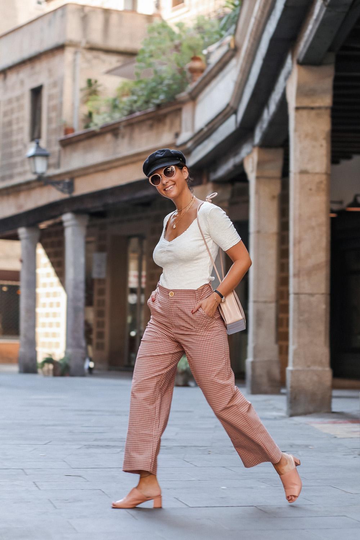 pantalones culotte con estampado vichy